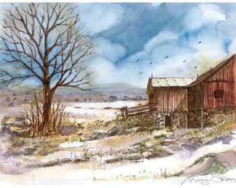 Red Barn Print - landscape watercolor art by Marji Stevens