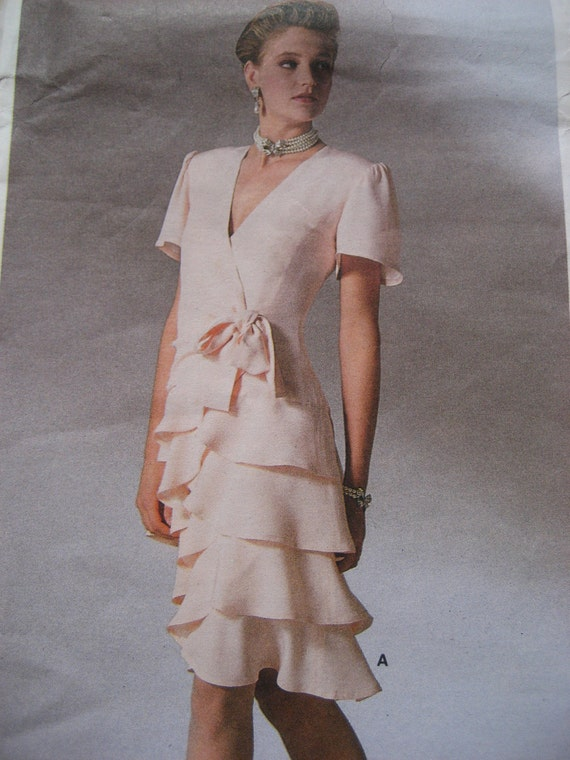 Vintage Vogue Pattern - Ruffle Dress with Wrap Bodice - 1987