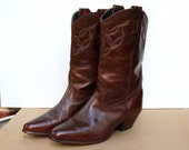 Vintage Laredo boots Cowboy boots Womens western boots Brown leather boots