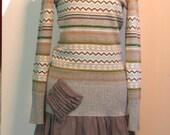 Refashioned sweater dress, Eco upcycled tattered clothing