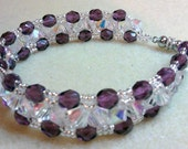 Crystal and Purple Triangle Weave Bracelet