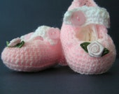 Crochet Pink Mary Jane Booties with Contrast White Strap  - Fits 1 - 3 months