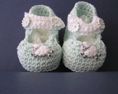 Crochet Pale Green Mary Janes with Contrasting White Strap - Fits 3 - 6  months