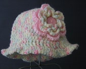 Cream and Pink Crochet Cloche with Flower/ 2 - 4 years