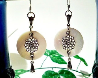 White Shell Drop Earrings. Shell Jewelry. Metal Filigree