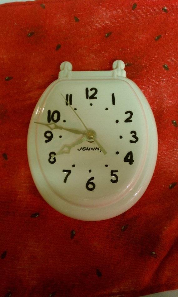 Johnny Toilet Seat Clock Ceramic Vintage Bathroom