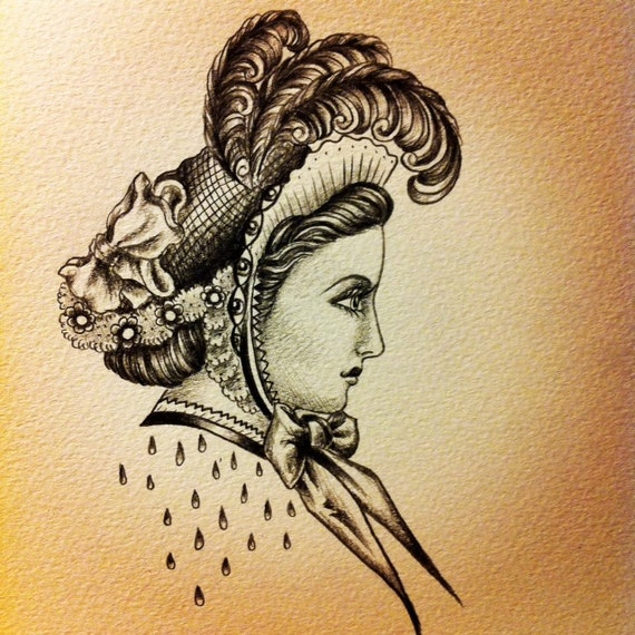 "Victorian lady drawing, graphite, 5""x7""  feathers, hat, tears, eyes"