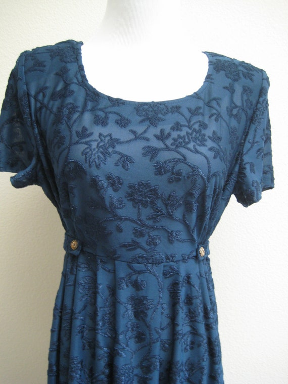 Pretty Blue Vintage Caroline Wells Early 90s Retro Dress Mod Style Belted