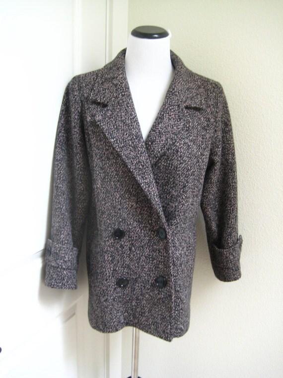 SALE...Wool Pink, Black and Gray Jill Jr. short coat. M-L Wool Coat