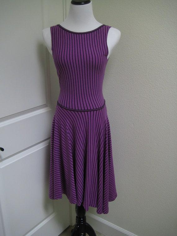 Bettina New York Flashdance Vintage Purple with Black Stripes Cotton Vintage 80s Scoop Back Tank Cotton Dance Dress