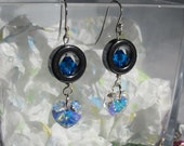 Sterling Silver Clear Swarovski Heart Dangling Earring w/Blue 6mm Swarovski Crystal and a Hematite Ring Around It