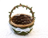 Flower Girl Basket Wedding Rustic Woodland Country Moss Mossy Classic Confetti Bride Shabby Chic Classic Fairytale Natural Pretty Favor