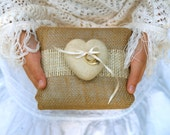 Burlap Ring Bearer Pillow Wedding Needle Felted Heart Country Chic Rustic Fairytale Classic Alternative Unique Brown Tan White Cream