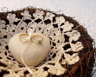 Ring Bearer Pillow Wedding Nest Crochet Needle Felted Heart Woodland Rustic Fairytale Classic Alternative Unique Feminine White Cream