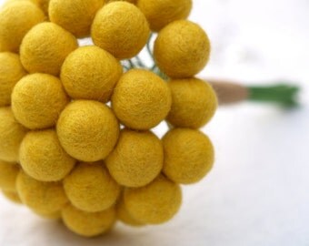 Wedding Bouquet for the Bride, Yellow Craspedia Flowers, Needle Felt, Everlansting, Billy Button Balls, Classic Country Bride Spring