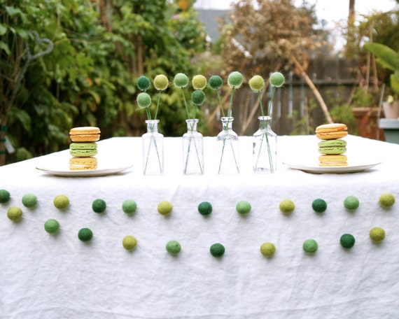 Green Garland Wedding Woodland Decoration Romantic Country Bohemian Bride Green Earthy banner Barn Cake Table Photo Prop Felted Decorating