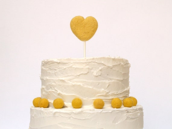 Yellow Wedding Cake Topper and Decorative Balls (10) - Needle Felted Heart
