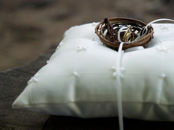 White Ring Pillow Wedding Satin Beaded Pearl Nest Woodland Rustic Fairytale Classic Alternative Unique Feminine Cream Bearer