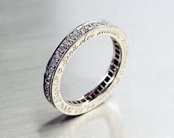 Platinum eternity ring with engraving on the side, diamond ring, wedding band, unique, diamond eternity, platinum wedding, eternity band