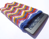 RESERVED LISTING Retro Knitted Kindle Cover in Brightly Striped Wool and Cotton