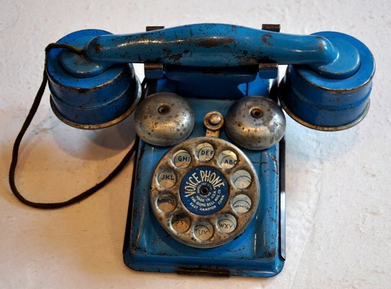 """Vintage Blue Tin Toy """"Voice Phone"""" by The Gong Bell Mfg. Co. PRESSED STEEL"""