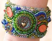 Green Blue Red Bead Embroidered Bracelet