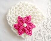 NEWBORN HAT, cream and pink hat, crochet hat, baby hat,soft cotton,girls hats, summer trends, summer hat, happy, sweet,