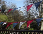 Festival bunting custom order by the metre, red white and blue bunting