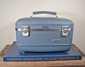 Vintage Train Case - American Tourister Luggage Blue