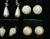 Lot of 4 Pair of  White Vintage 1950s Earrings