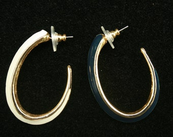 Classic Vintage Navy and White Pierced Earrings-New Old Stock from the 1980s