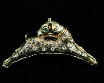 Rhinestone Goldtone Fawn Shoulder Pin Brooch Unusual Large