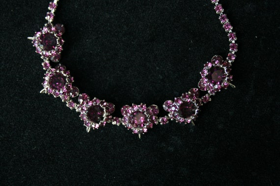 Vintage Amethyst Rhinestone Necklace-Multi-Dimesional-Nice for Wedding or Special Occasion