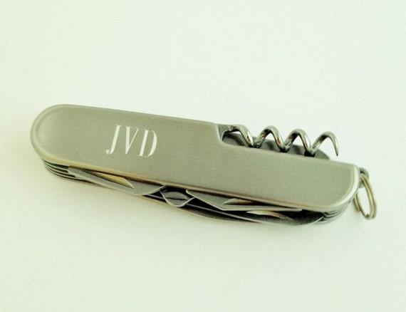 Engraved Monogrammed Pocket Knife Gift for Men Groomsman Gifts for Him Under 20