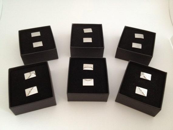 Monogrammed Rectangular Cuff Links Set of Six for Wedding Party Groomsman