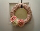 Pink, Cream and Brown Yarn Wreath