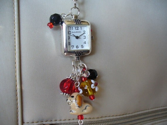 Watchdog Purse Charm Dangle with Watch Face Backpack Charm