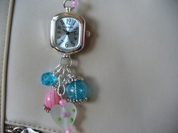 Purse Charm Watch Dangle with Pink and Blue Beads
