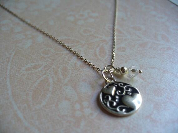 Sterling Silver Necklace Enamel Heart and Elegant Swirls Pendant, Dear Friends Necklace, Swarovski, Hearts, Elegant