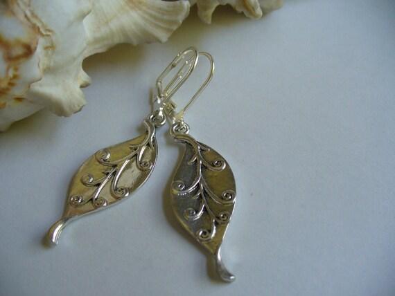 Swirl Leaf Dangle Earrings. Sterling Silver Leverback Earrings. Summer Gifts.