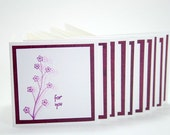 Mini Note Cards with Purple Sprig Flowers  - 3 x 3 - Set of 12
