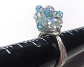 custom order for Nerdspecs Swarovski crystal blue wire wrapped ring size 7