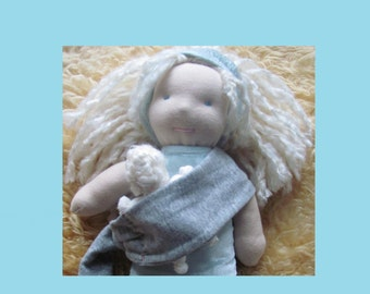 Baby-wearing, Nursing Mama and Baby Waldorf Doll, hand-sewn and natural, Blonde