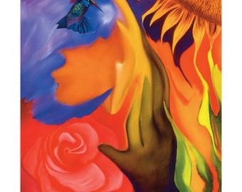 Hummingbird Art, Metal Wall Decor, Sunflower Print, Rose Painting, Original Oil Painting, Yellow Blue and Red Fantasy Art