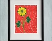 8x10 Rose Print - Red