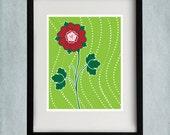 8x10 Rose Print - Green