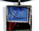 Artistic Choker Pendant Necklace with 1974 UK Blue Stamp in Collage Design OOAK