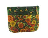 Beautiful Fall Gold and Orange Flowers with Green Leaves  - Cosmetics Case/Zipper Pouch/Gadget Case
