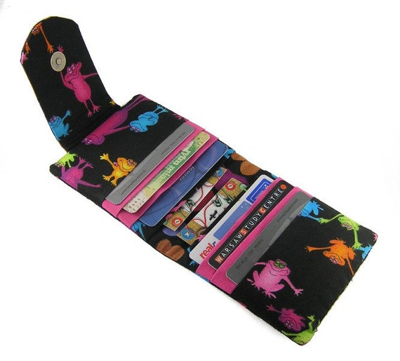 Fabric credit card holder / wallet / organizer / case - Neon Frogs on  Black Background