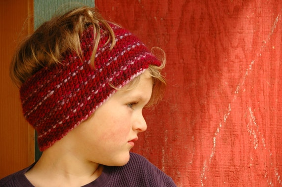 Knit Cowl/Ear Warmer - Soft Merino Wool in Deep Berry Hues - Ready to Ship